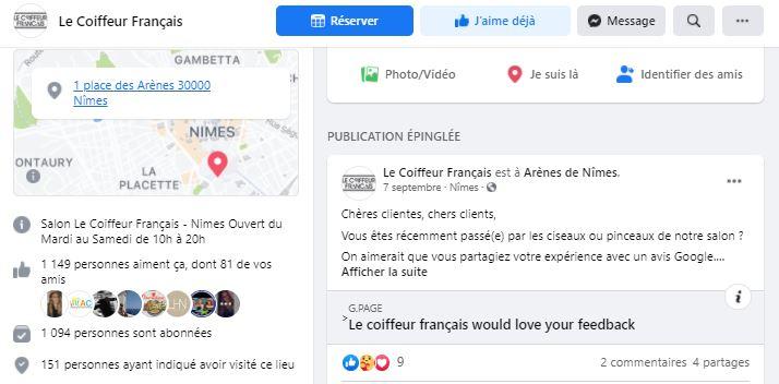 Le coiffeur français sur les réseaux sociaux avec sa page pro Facebook ayant passée les 1000 fans en 2020